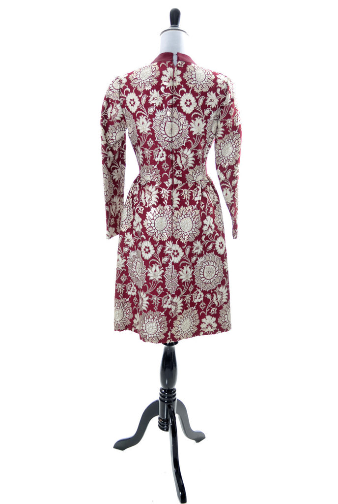 1960s Adele Simpson vintage dress burgundy silver brocade