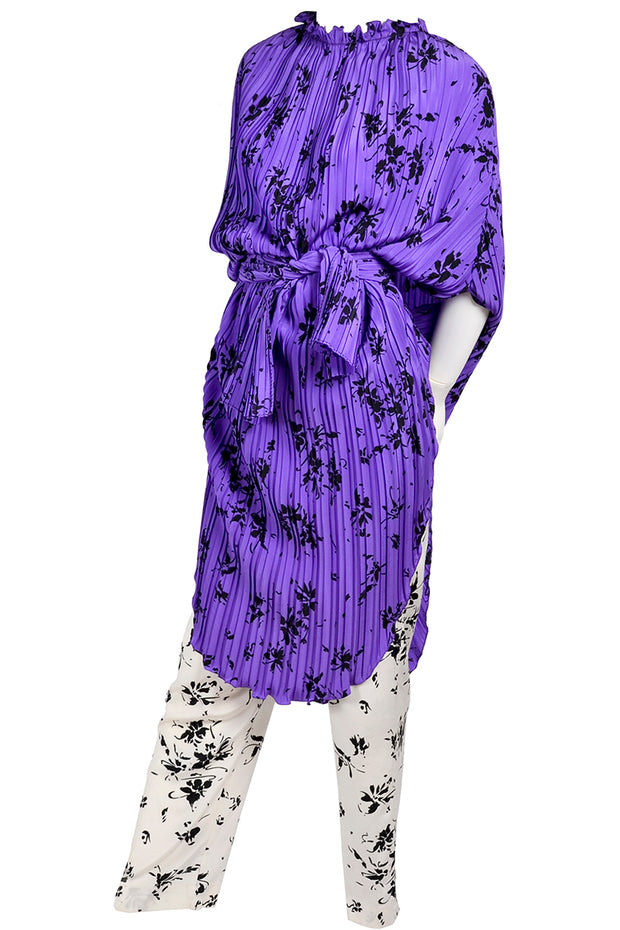 Purple and Black Adolfo Vintage Caftan With Pants