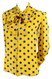 Adolfo bright yellow pussybow blouse