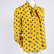 Yellow & Blue Adolfo vintage silk blouse with bow