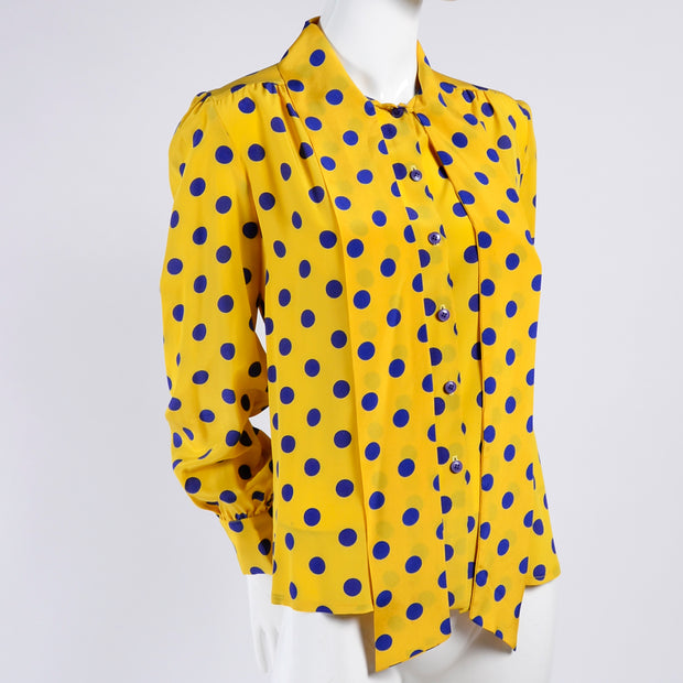Adolfo vintage silk blouse with bow in yellow