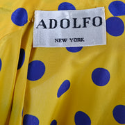 Adolfo blouse with bow in yellow blue polka dot silk
