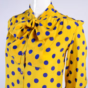Yellow Adolfo vintage silk blouse with bow & blue dots