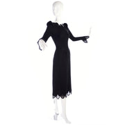 1970s Adolfo Vintage Black Dress With Lace & Sequin Trim