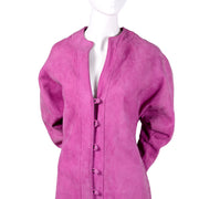 Adolfo purple suede long coat w/ dolman sleeves