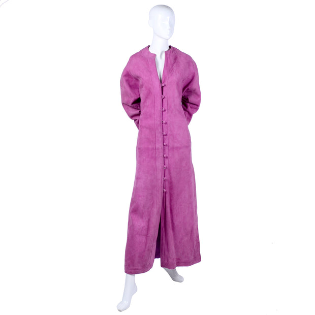 1980's Adolfo purple pink suede long coat dress