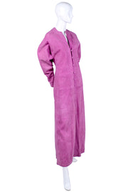 Button down pink suede coat dress from Adolfo