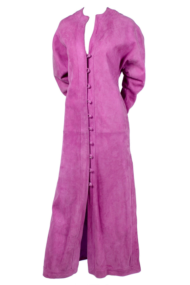 Adolfo vintage pink suede coat dress