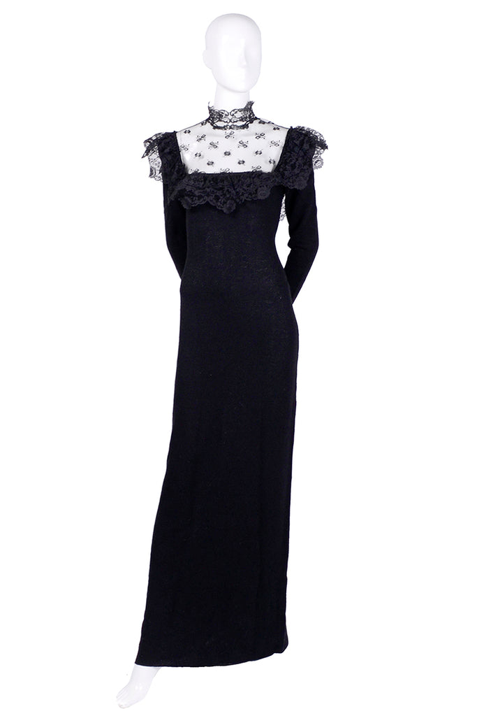 1970's black lace Adolfo gown