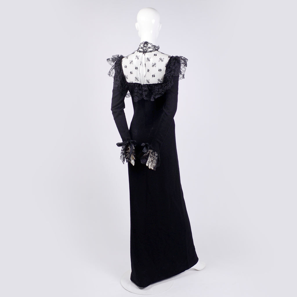 Adolfo black lace and knit 1970's long dress