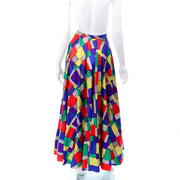 1940s Satin Patchwork Print Designer Full Skirt