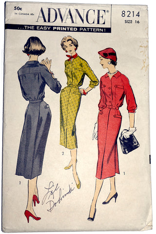 1950s Advance 8214 Vintage Dress Pattern 50s