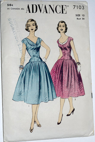 Advance 7103 Vintage Dress Sewing Pattern 1950s