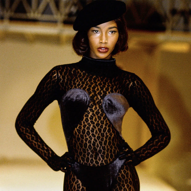 Azzedine Alaia 1991 Runway Animal Print Lace Velvet Bodysuit Top Catwalk