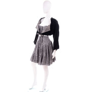 1981 Rare Alaia 4 Pc Ensemble w/ Shorts Skirt Bustier & Cropped Velvet Jacket