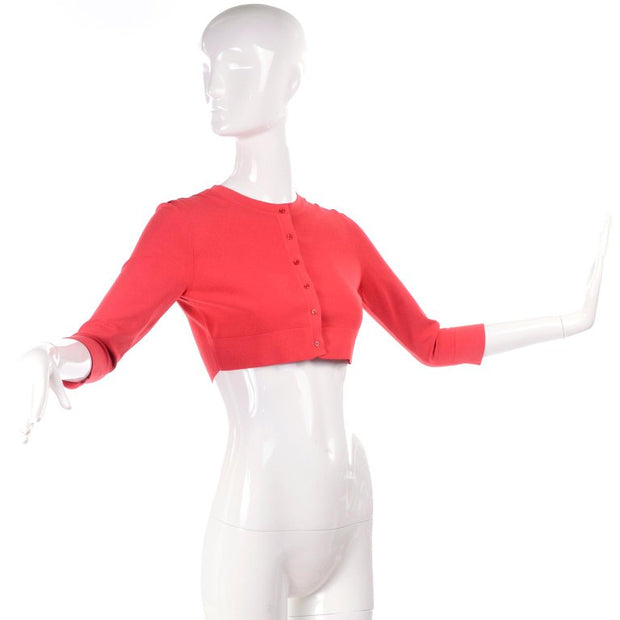 Crewneck vintage Alaia coral stretch cropped sweater