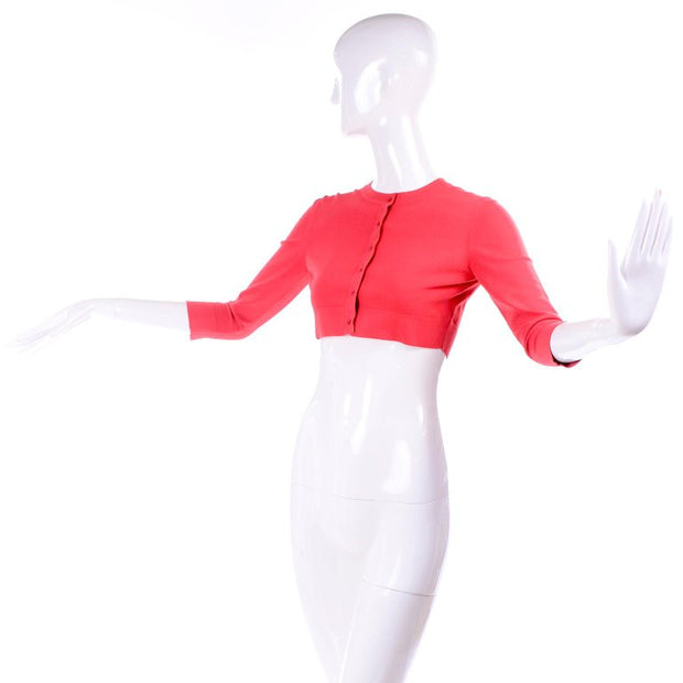 Vintage Alaia coral pink red cropped stretch sweater