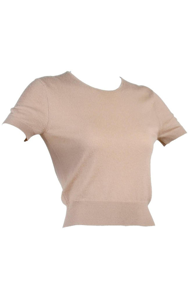 Tan cashmere crop top sweater by Alaia