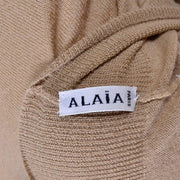 Azzedine Alaia Paris cashmere short sleeve sweater top in tan