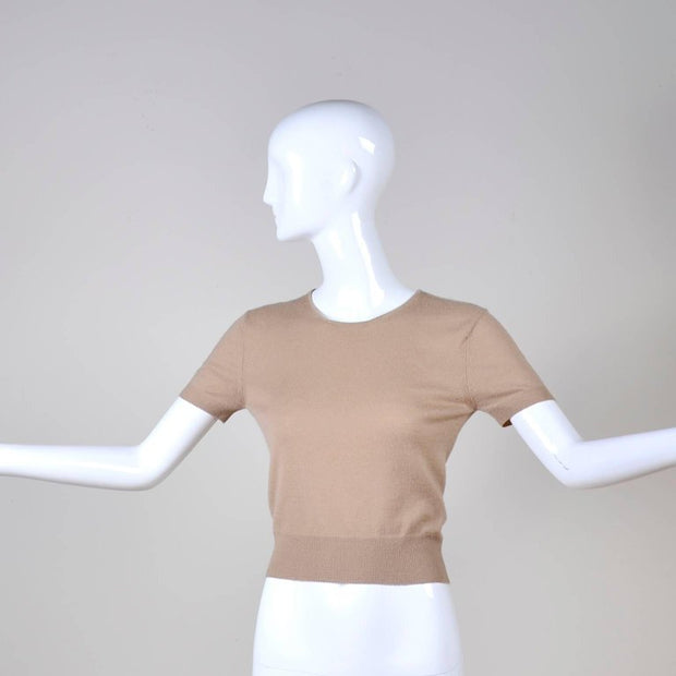 Azzedine Alaia tan cashmere sweater with short sleeves