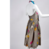 1970s Albert Nipon Vintage Halter Dress in Floral Linen Blend - Dressing Vintage