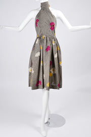 1970s Albert Nipon Vintage Halter Dress in Floral Linen Blend