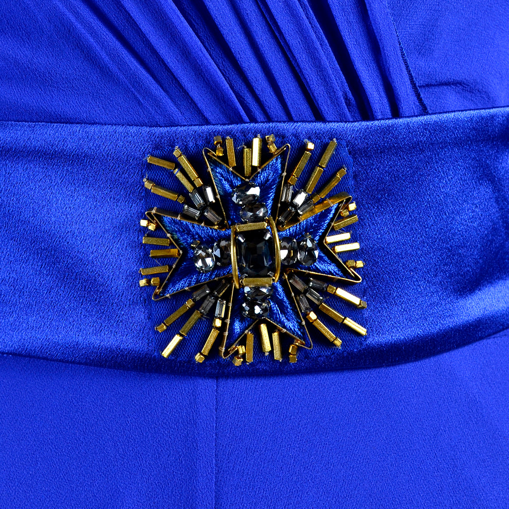 Alberta Ferretti blue cape dress beaded belt