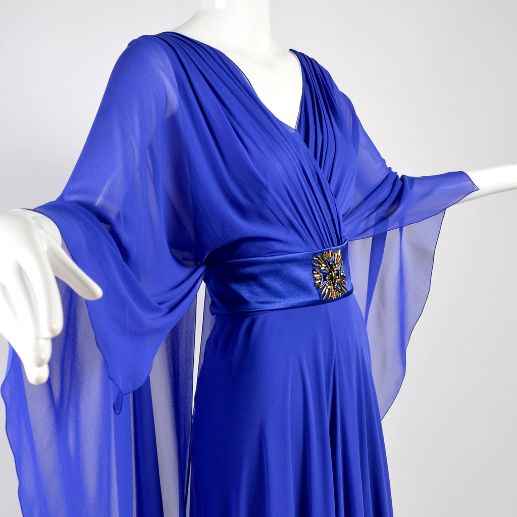 Alberta Ferretti blue cape dress belted