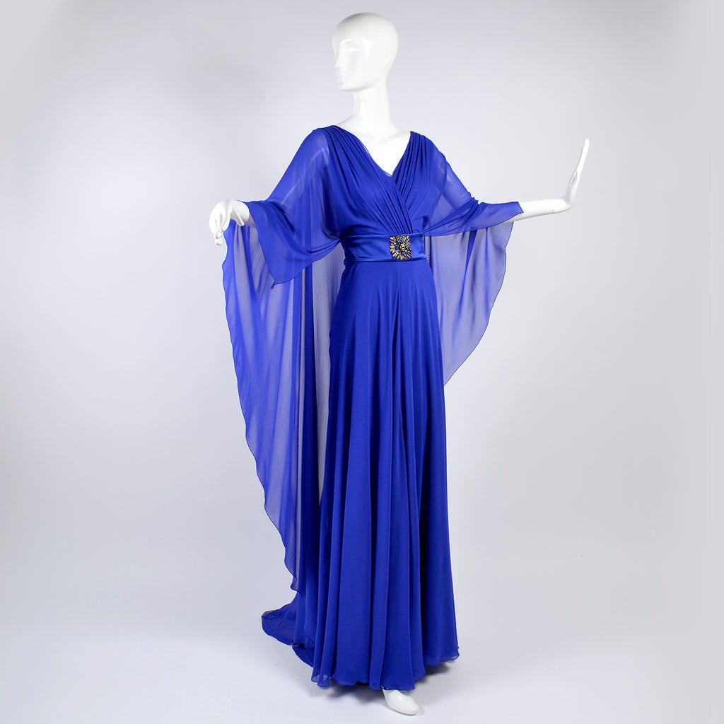 Blue silk chiffon Alberta Ferretti dress with train