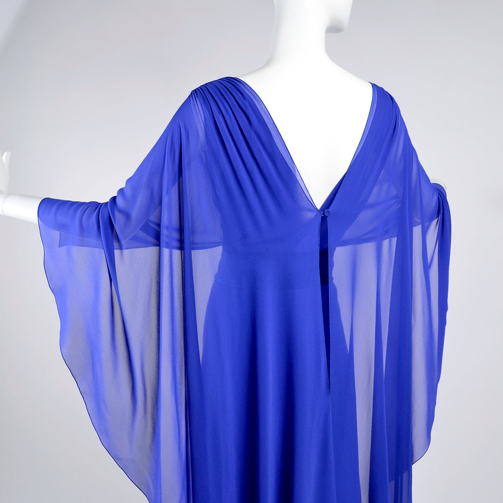Alberta Ferretti blue cape dress sheer wings