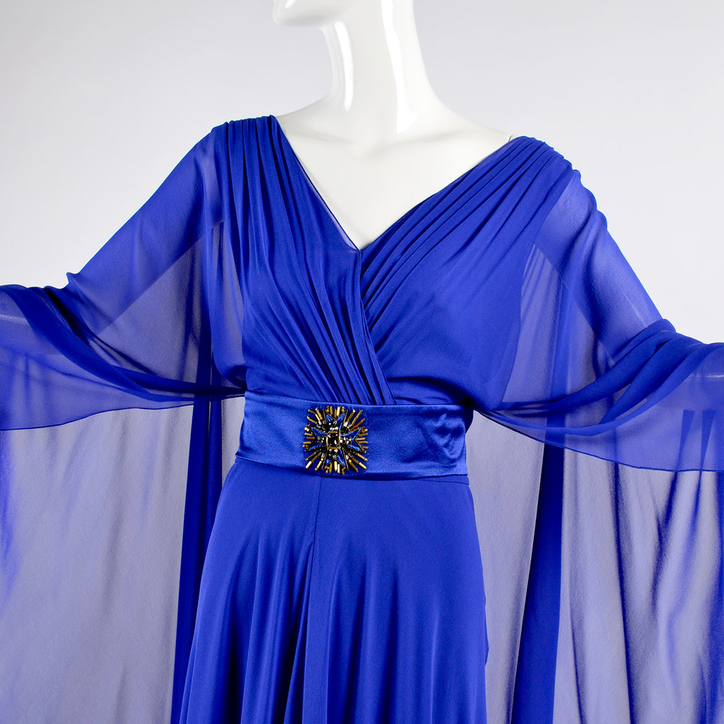Alberta Ferretti blue silk chiffon designer gown with cape