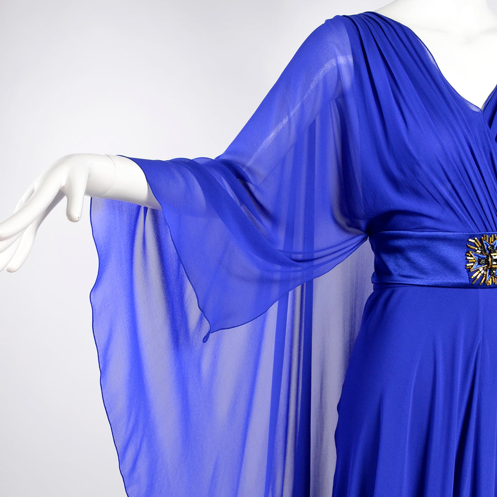 Alberta Ferretti blue silk chiffon designer evening gown