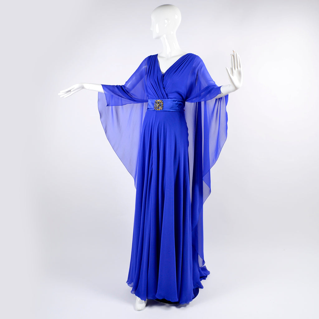 Alberta Ferretti Blue Cape Evening Gown Silk Chiffon w/ Train Size ...