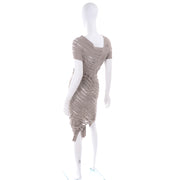 Alessandra Marchi Slashed Avant Garde Taupe Dress Modig