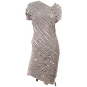 Taupe Knit Alessandra Marchi Slashed Avant Garde Dress Modig