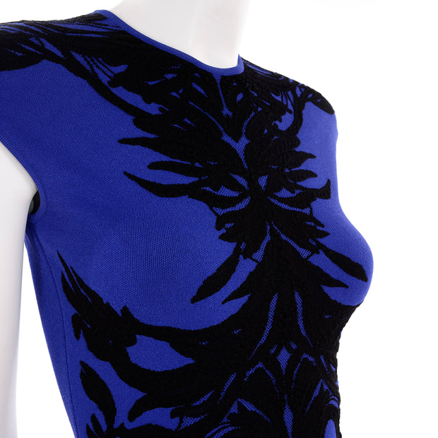 Alexander McQueen Blue & Black Spine Print Bodycon Mini Dress