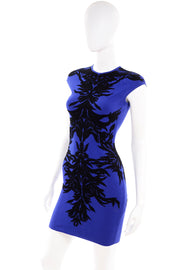 Alexander McQueen blue bodycon mini dress w Spine Lace