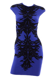 Alexander McQueen blue and black spine bodycon dress