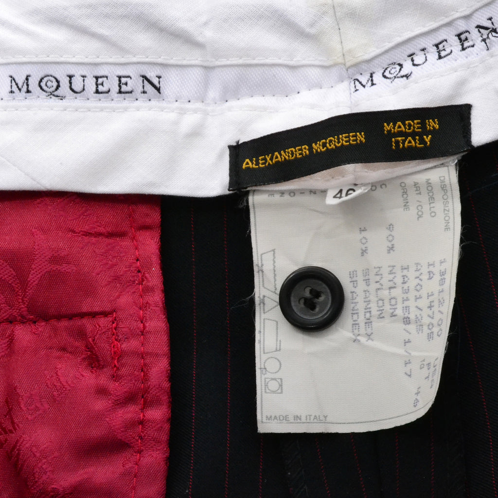 Documented 1998 Joan Alexander McQueen Red Pinstripe Vintage Coat Pant Suit 10 - Dressing Vintage