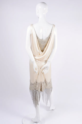 2007 beaded fringe Alexander McQueen ivory silk dress