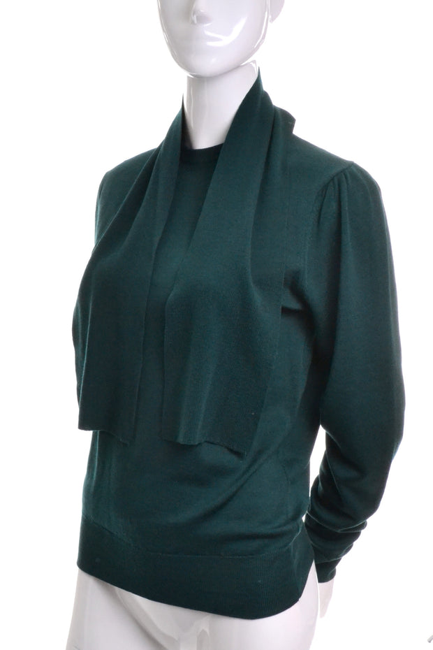 Green Wool Vintage Aljean Sweater with Attached Shawl