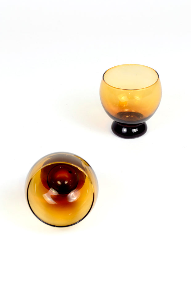 Mid Century Amber Cocktail Glasses Set of 2
