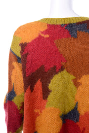Oversized Anne Klein Vintage Mohair Fall Leaf Print Sweater
