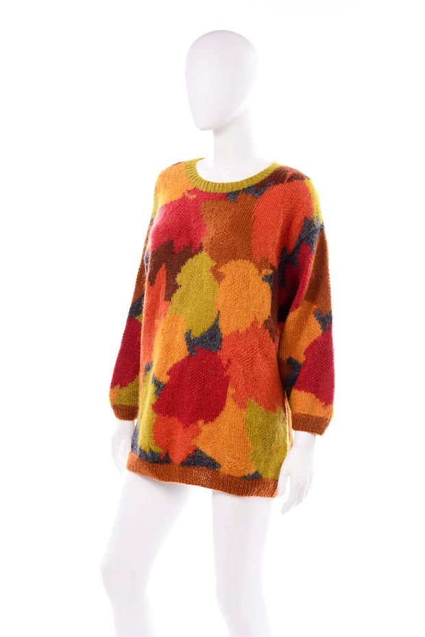 Anne Klein Vintage Mohair Fall Leaf Print Sweater Oversized
