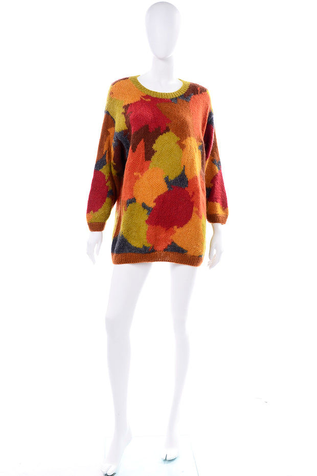 Anne Klein Vintage Mohair Fall Leaf Print Sweater Orange Red Brown Green