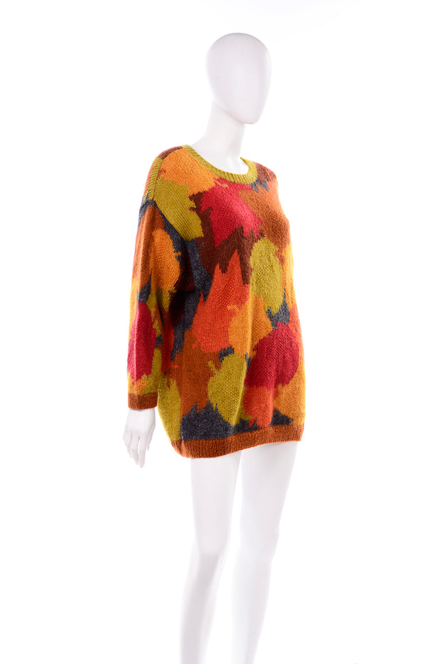 Orange Green Red Anne Klein Vintage Mohair Fall Leaf Print Sweater