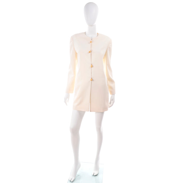 Vintage Anne Klein Collarless White Blazer
