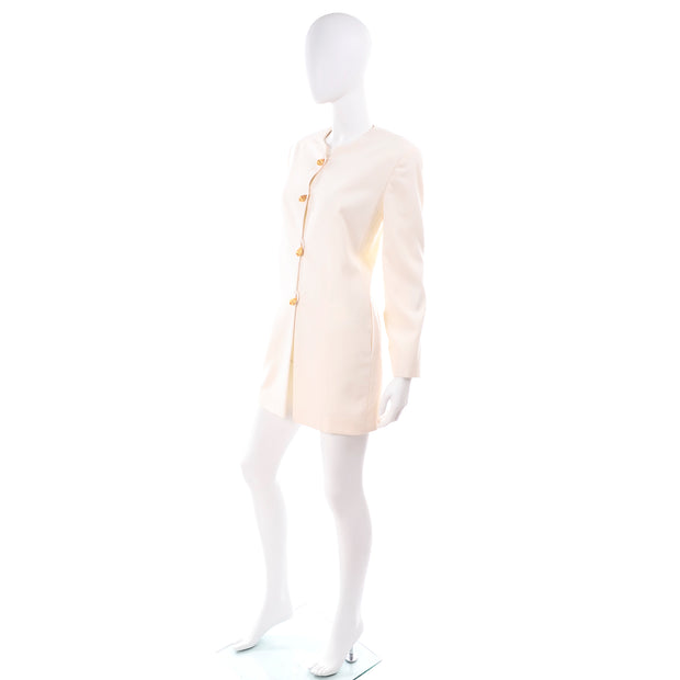 Vintage Anne Klein Collarless White Blazer Jacket