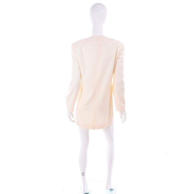 Vintage Anne Klein Collarless White Blazer Jacket Gold Buttons