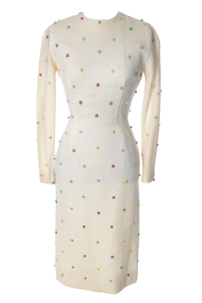 1960's Winter White Anne Fogarty Vintage Dress w Pom Poms - Dressing Vintage